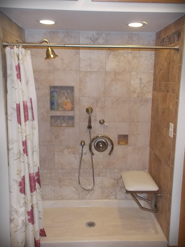 Shower bench and grab bar elderly safety