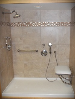 low barrier shower with seat
